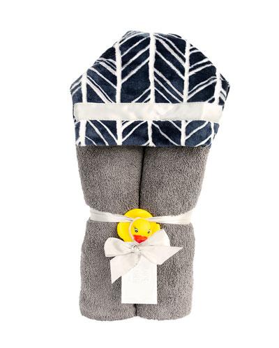 Herringbone Hooded Towel  Navy