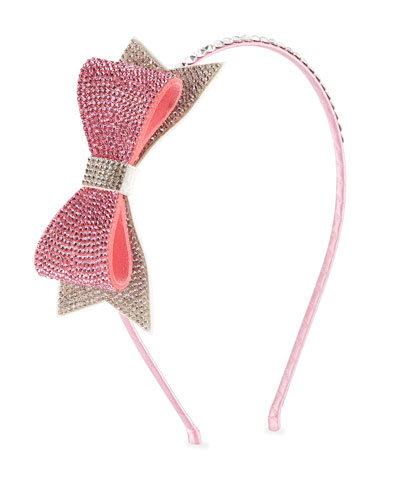 Girls' Two-Tone Crystal Bow Headband