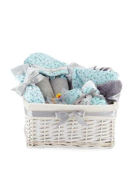SWANKIE BLANKIE Alex Dot Plush Gift Basket, Blue