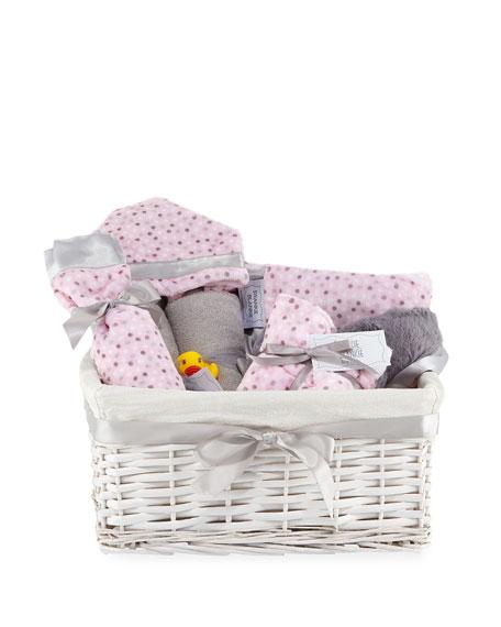 SWANKIE BLANKIE Alex Dot Plush Gift Basket, Pink