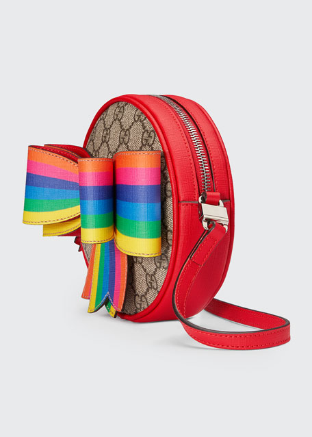 5b6e69810e26 Gucci Girls' Circle GG Supreme Crossbody Bag w/ Rainbow Bow