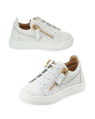 Snake-Embossed Leather Low-Top Sneakers  Toddler