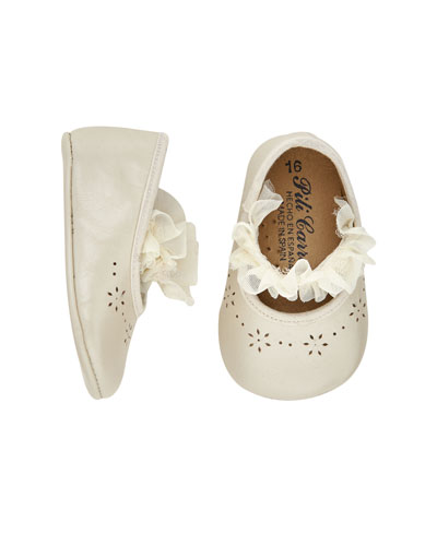 Leather Ruffle-Trim Christening Booties, Baby
