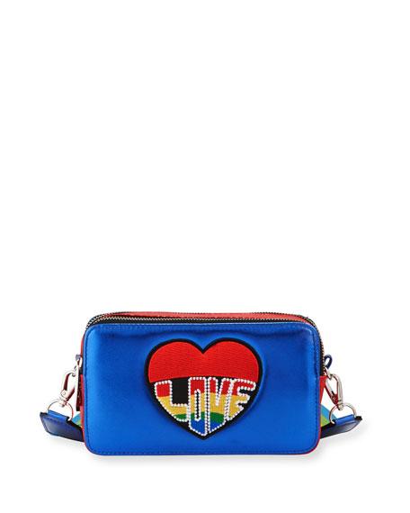 Bari Lynn Girls' Bluelove Metallic Crossbody Bag