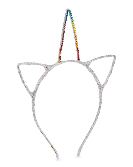 Girls' Glitter Cat Ears & Crystal Unicorn Horn Headband