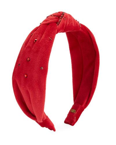 Girl's Velvet Knot Headband w/ Swarovski Crystals