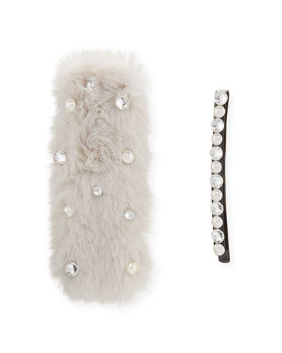 Girl's Embellished Faux Fur Barrette w/ Matching Bobby Pin