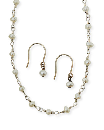 Girl's Pearl Sterling Wire Necklace w/ Matching Drop Earrings Set
