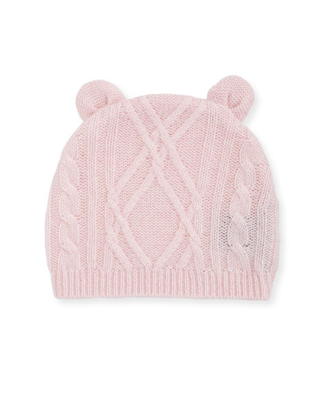 Argyle Cable Knit Beanie Hat w/ Bear Ears, Size 3-18 Months