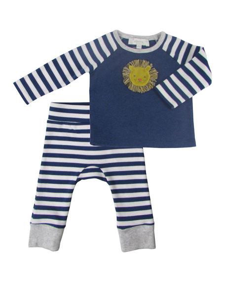 Velvet Lion Applique Top w/ Striped Pants, Size 12-36 Months