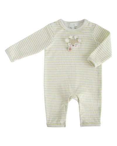 Striped Coverall w/ Crochet Deer Face  Size 0-12 Months
