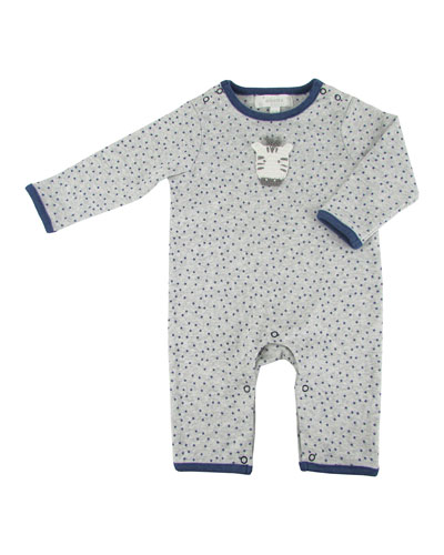 Star Print Coverall w/ Crochet Zebra  Size 0-12 Months