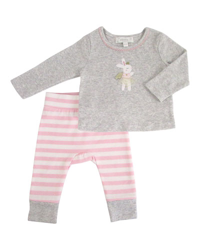 Kid's Bunny Applique Top w/ Striped Pants  Size 12-36 Months