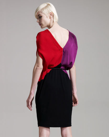 Tri-Color Dress With Leather Belt