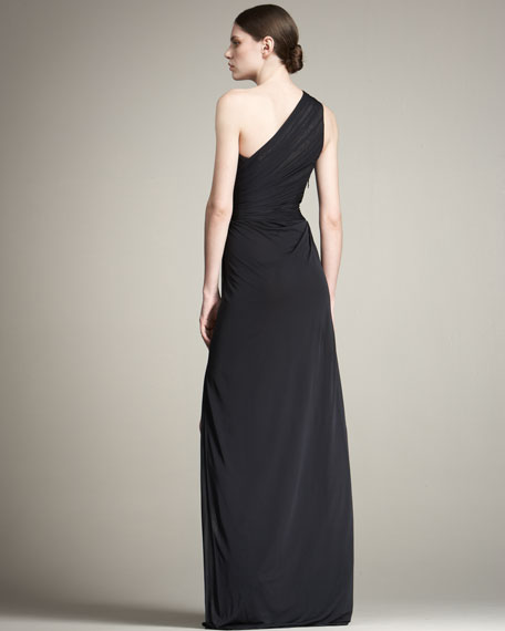 Lace-Underlay Chiffon Gown