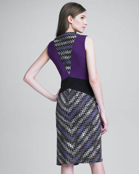 Contrast-Panel Zigzag Dress