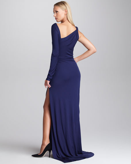Gathered One-Sleeve Gown, Navy