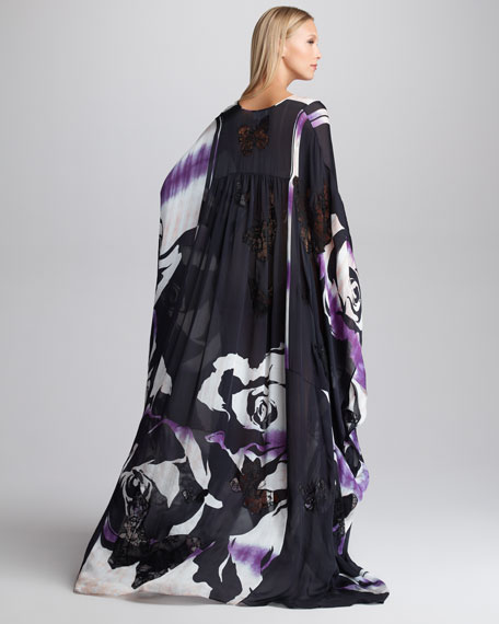 Butterfly Lace-Inset Printed Caftan