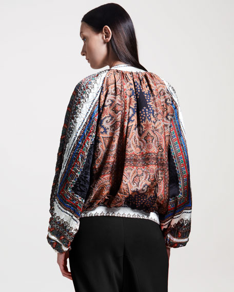 Paisley-Print Satin Bomber Jacket