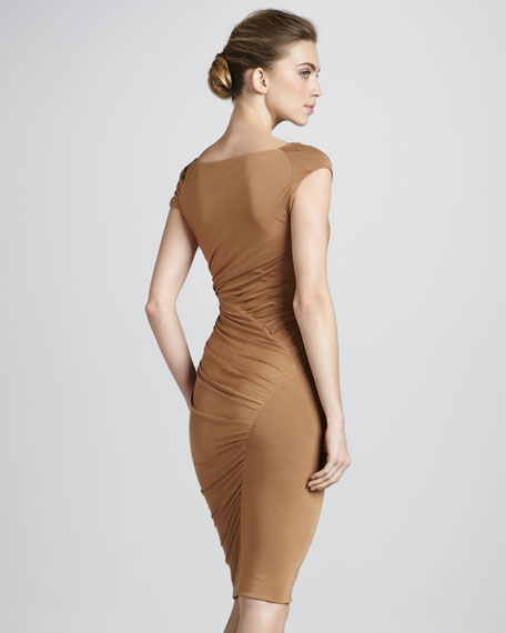 Cap-Sleeve Bias Jersey Dress, Dark Tan