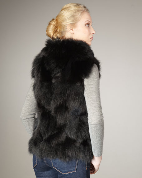 Roadie Fox Fur Vest, Black