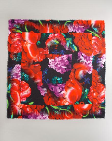 Floral-Print Modal Scarf, Chrysanthemum