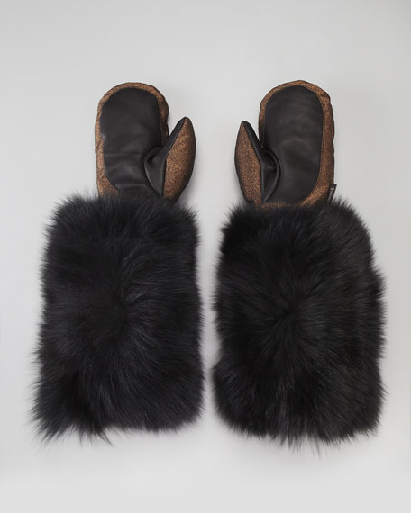 BG 111th Anniversary Fur-Cuff Metallic Mittens