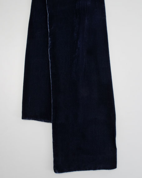 Extra-Long Signature Velvet Scarf, Midnight Blue