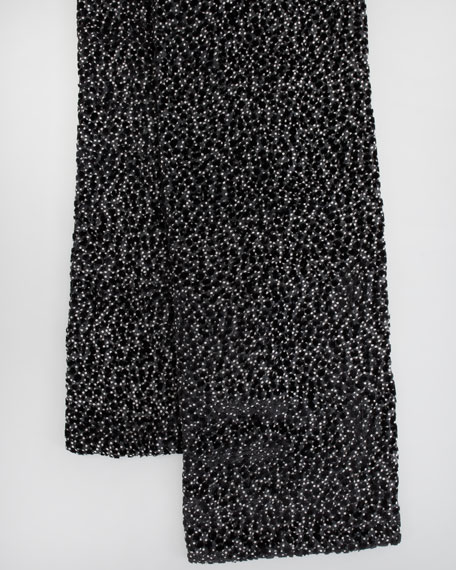 Extra-Long Dot-Burnout Velvet Scarf