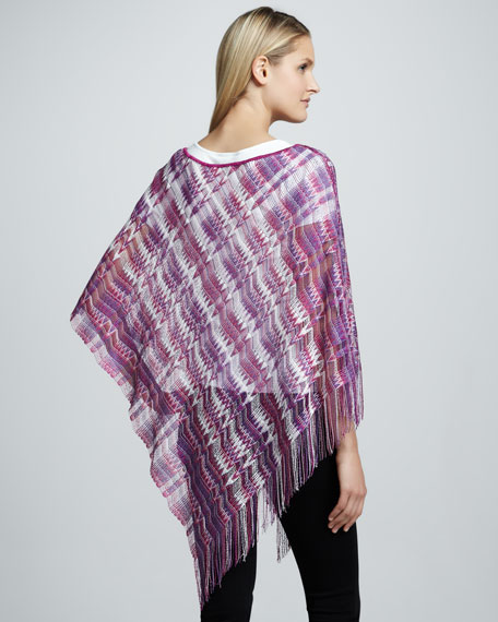 Loose Weave Zigzag Poncho, Purple/Pink