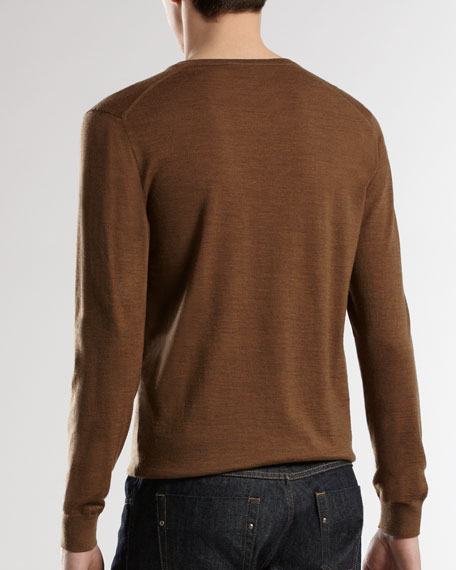 Wool V-Neck Sweater with Inside Web Detail, Mocha Melange