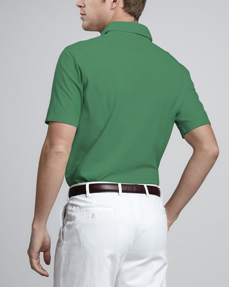 Pique-Knit Polo, Shiny Green