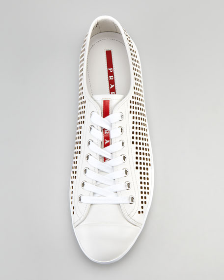 Perforated Low Sneaker, White