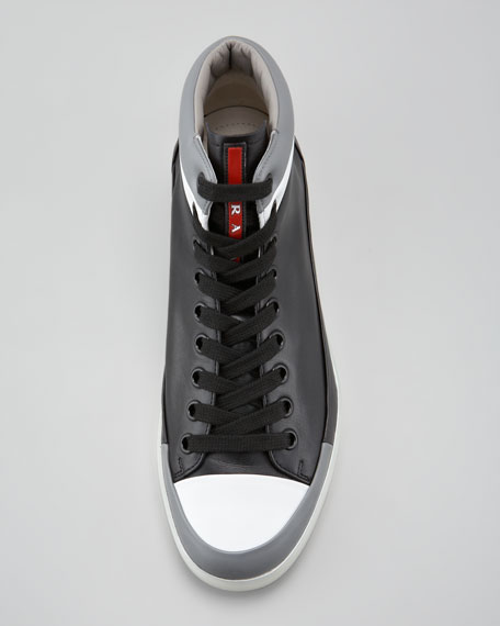 Hi-Top Contrast-Lip Sneaker, Black