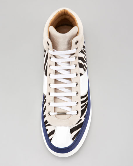 Belgravia Zebra Calf Hair Hi-Top Sneaker