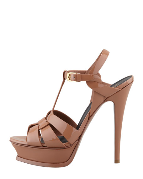 New Tribute Patent Platform Sandal, Natural