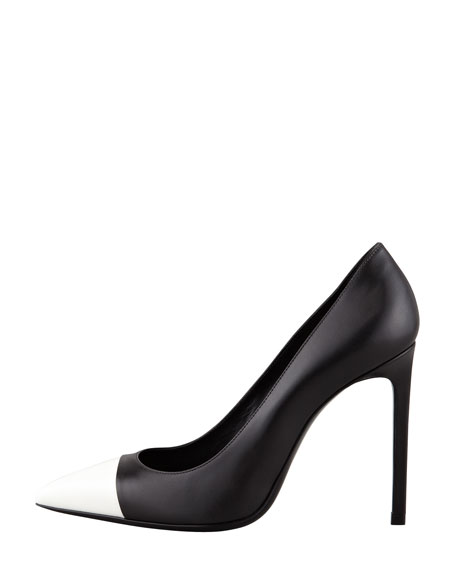 Bi-Color Leather Cap-Toe Pump, Black/White