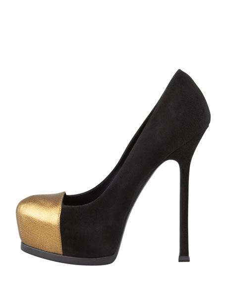 Tribute Two Metallic Cap-Toe Pump, Black