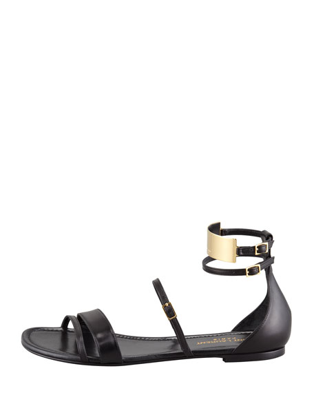 Strappy Leather Ankle-Plate Sandal