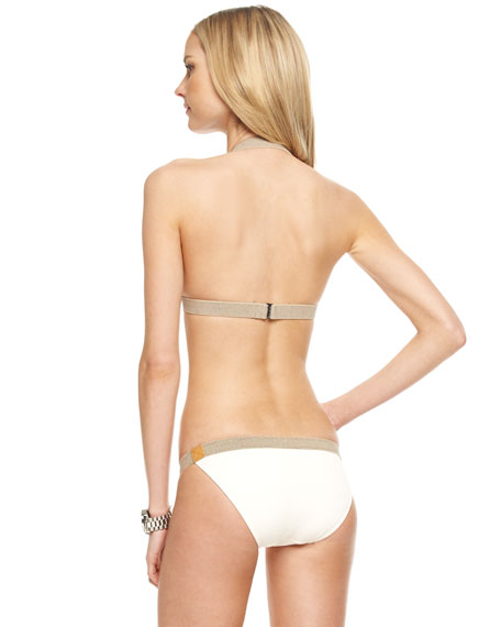 Belted Halter Bikini, Ecru