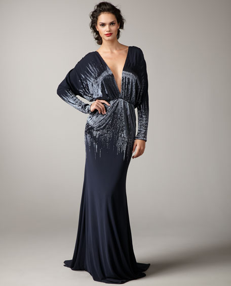Deep-V Sequin Gown