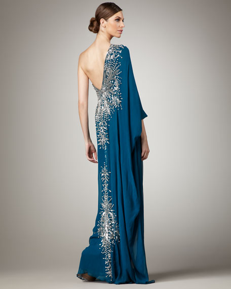 One-Sleeve Embroidered Caftan Gown