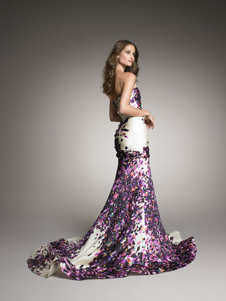 Strapless Silk Trumpet Gown