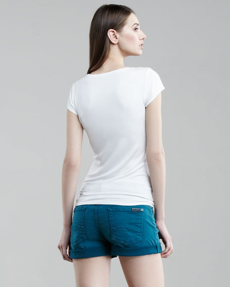 Roll Up Twill Shorts, Teal