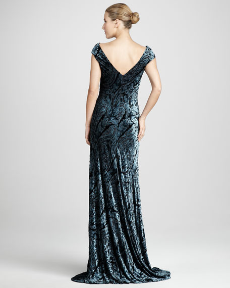 Metallic Devore Gown