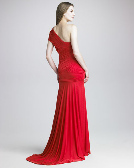 Crisscross One-Shoulder Gown