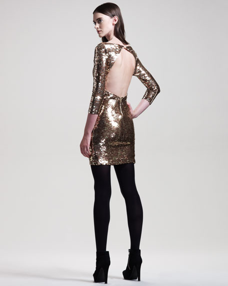 BG 111th Anniversary Sequined Long-Sleeve Dress