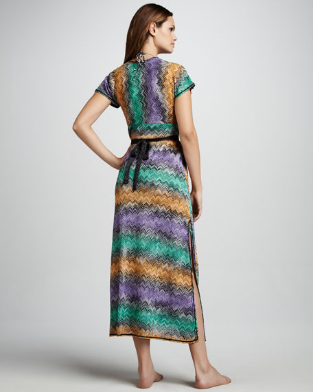 Zigzag Snake-Print Caftan Coverup