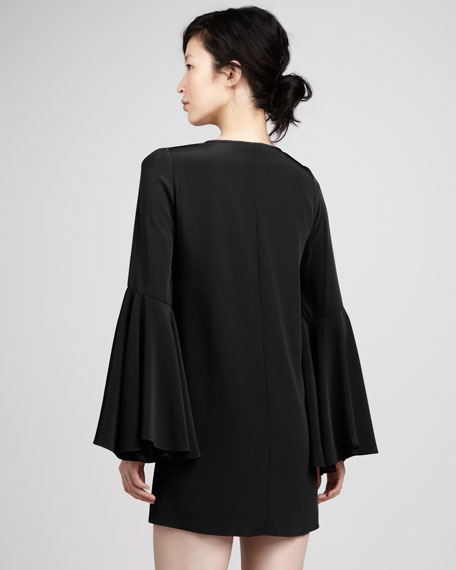 Mabel Bell-Sleeve Shift Dress, Black