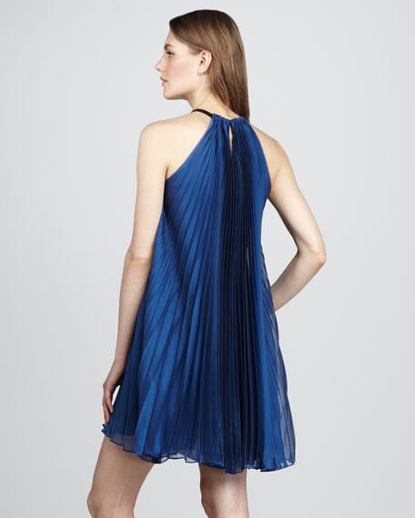 Iridescent Plisse Dress